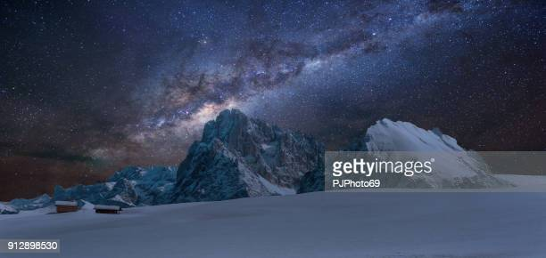 Panoramic view of Langkofel by night with milky way