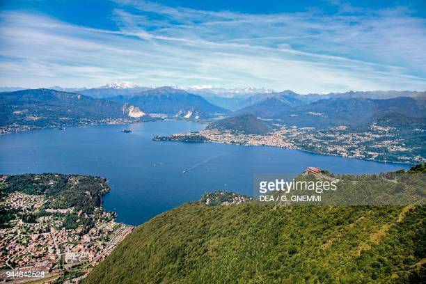 Panoramic view of Laveno and Lake Maggiore Piedmont Italy