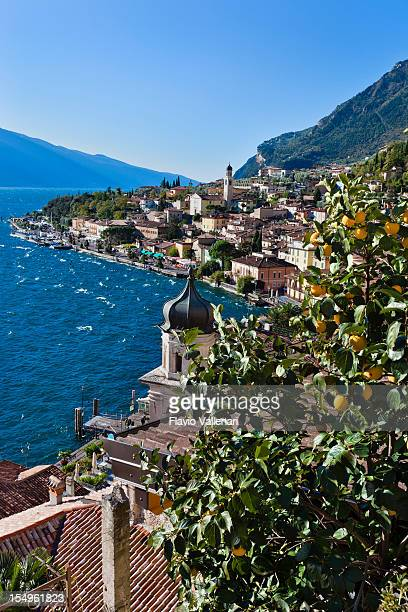 Panoramic view of Limone sul Garda, Italy on Lake Garda