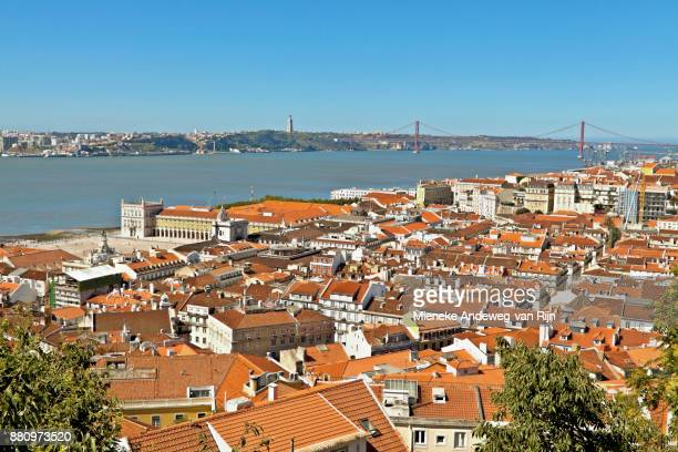 Panoramic view of Lisbon, and on the river Tagus, Portugal.
