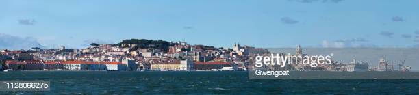panoramic view of lisbon and the tagus river - gwengoat stock pictures, royalty-free photos & images