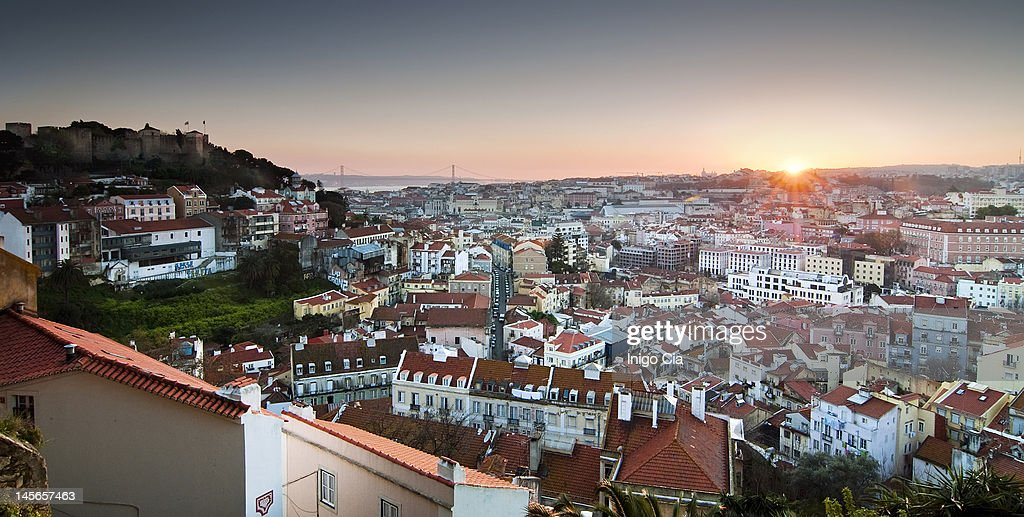 Panoramic view of Lisbon : Stock Photo