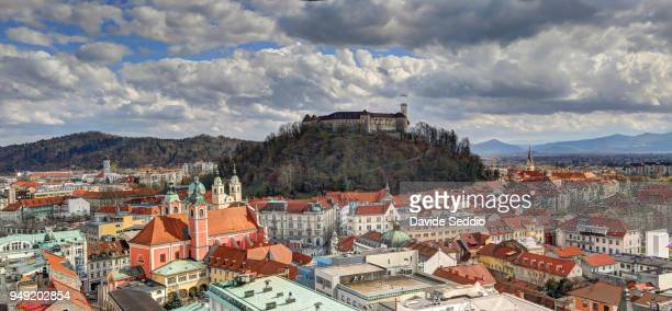 Panoramic view of Ljubljana city with the castle on the hill