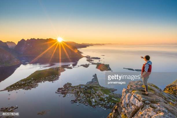 panoramic view of lofoten islands in norway with sunset scenic - traditionally norwegian stock pictures, royalty-free photos & images