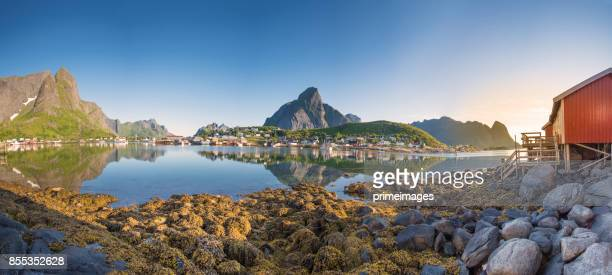panoramic view of lofoten islands in norway with sunset scenic - northern europe stock pictures, royalty-free photos & images