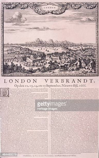Panoramic view of London, above, showing a group of figures and dogs in the foreground watching the Great Fire of London in 1666. The lower section...