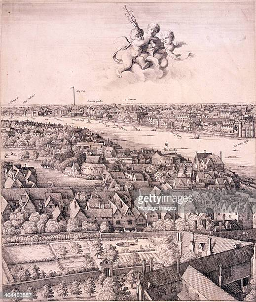 Panoramic view of London c1670 View of London from Southwark looking west up the River Thames with the Globe Theatre and the Bear Garden in the...