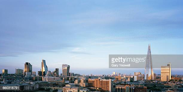 Panoramic view of London city skyline at sunset