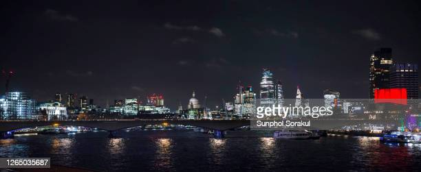 panoramic view of london city with illuminated skyscrapers on the skyline at night - panoramic stock pictures, royalty-free photos & images