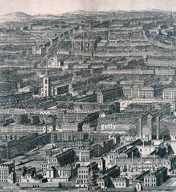 Panoramic view of London from Buckingham Palace looking towards St James's Palace St James's Square and beyond 1720