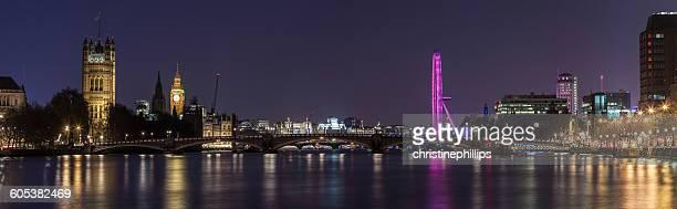 Panoramic view of London, London Eye, Houses of Parliament, Big Ben and Lambeth Bridge