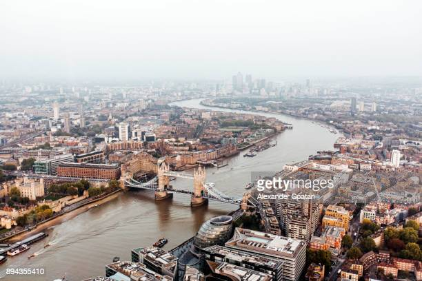 panoramic view of london seen from above - guildhall london stock pictures, royalty-free photos & images