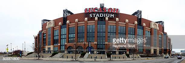 Panoramic view of Lucas Oil Stadium home of the Indianapolis Colts football team on December 22 2015 in Indianapolis Indiana