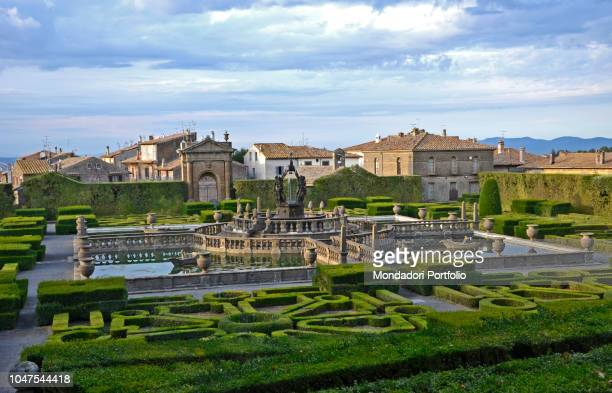 Panoramic view of main garden with boxwood maze and central Mori Fountain by Giambologna Villa Lante at Bagnaia is a mannerist garden of surprise...