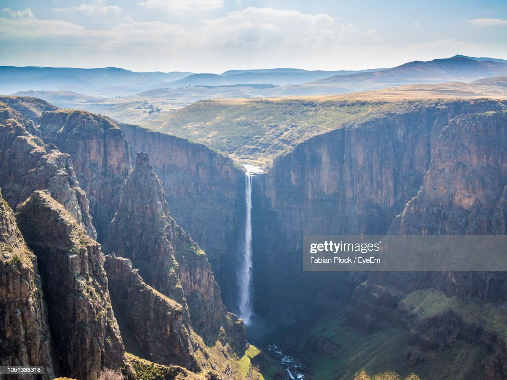 Panoramic View Of Maletsunyane Waterfall Against Dramatic Sky, Semonkong, Lesotho, Africa : Stock Photo