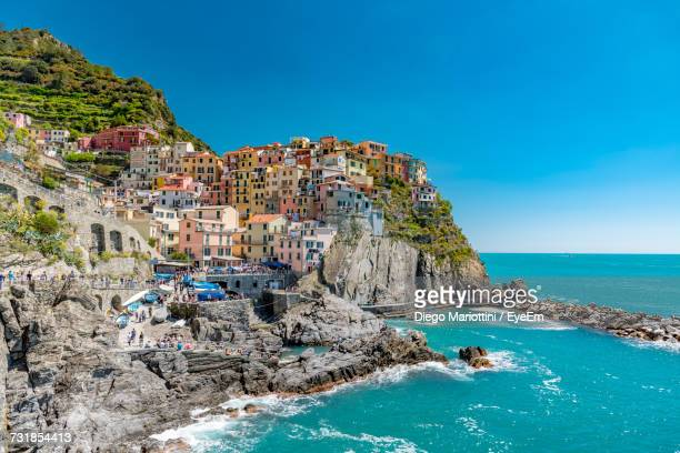 Panoramic View Of Manarola Against Clear Blue Sky