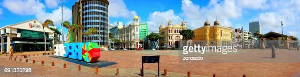 Panoramic view of Marco Zero square at ancient Recife district - Recife, Pernambuco, Brazil
