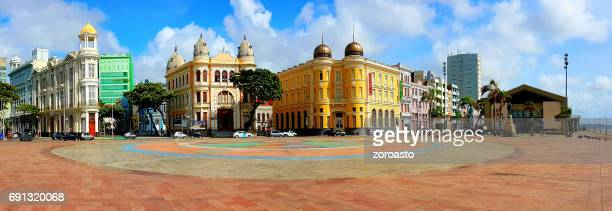 panoramic view of marco zero square in recife, pernambuco, brazil - recife stock pictures, royalty-free photos & images