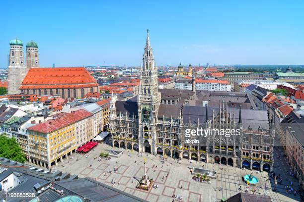 panoramic view of marienplatz in munich - marienplatz stock pictures, royalty-free photos & images