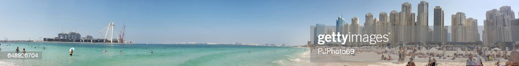 Panoramic view of Marina Beach in Dubai : Foto de stock