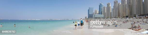 panoramic view of marina beach in dubai - pjphoto69 stock pictures, royalty-free photos & images