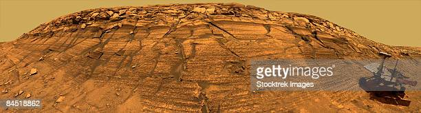 panoramic view of mars. - land geografisches gebiet stock-fotos und bilder