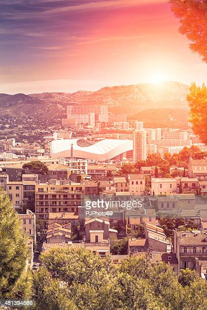 Panoramic view of Marseille and Stadium at sunset (France)