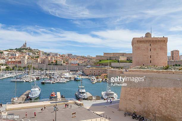 panoramic view of marseille from fortress (france) - bouches du rhone stock pictures, royalty-free photos & images
