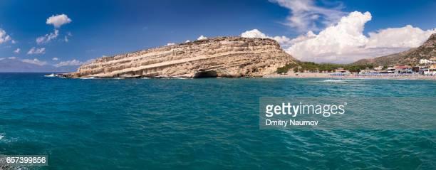 Panoramic view of Matala beach, Heraklion, Crete,  Greece, Mediterranean