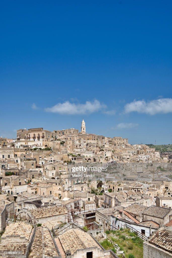 Panoramic view of Matera, Basilicata, Italy : Stock Photo