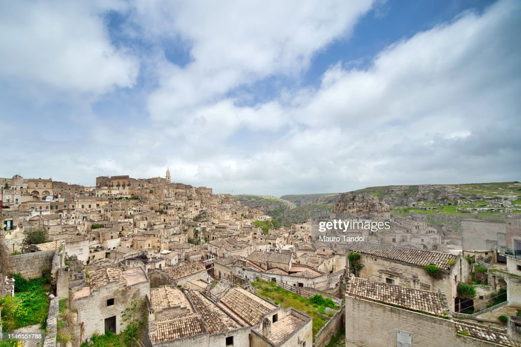 Panoramic view of Matera, Basilicata, Italy : Stock Photo