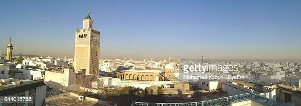panoramic view of medina of tunis against clear sky - tunis stock pictures, royalty-free photos & images
