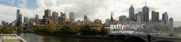 panoramic view of melbourne city, australia - claire plumridge stock pictures, royalty-free photos & images