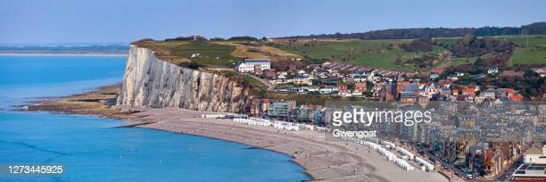 panoramic view of mers-les-bains - gwengoat stock pictures, royalty-free photos & images
