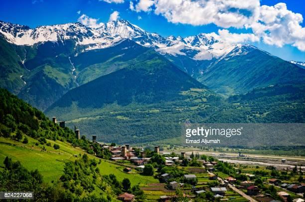 panoramic view of mestia village in svaneti region of georgia  - june 29, 2017 - kaukasus geografische lage stock-fotos und bilder