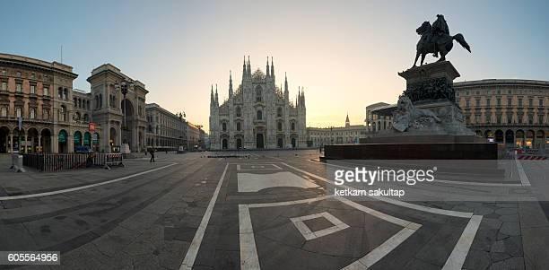 Panoramic view of Milan Cathedral, Duomo di Milano at sunrise.