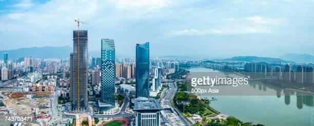 Panoramic view of modern city, Fuzhou, Fujian, China