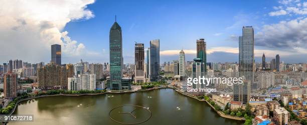 panoramic view of modern city, wuhan, hubei, china - wuhan stock photos and pictures