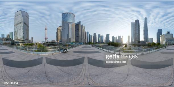 360° panoramic view of modern shanghai pudong architecture - 360 degree view stock pictures, royalty-free photos & images