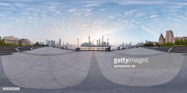 360° panoramic view of modern shanghai, the bund architecture - 360度視点 ストックフォトと画像