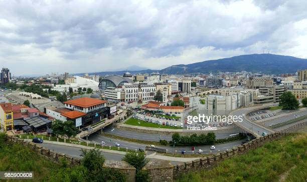 panoramic view of modern skopje, capital of the republic of macedonia - frans sellies stock pictures, royalty-free photos & images