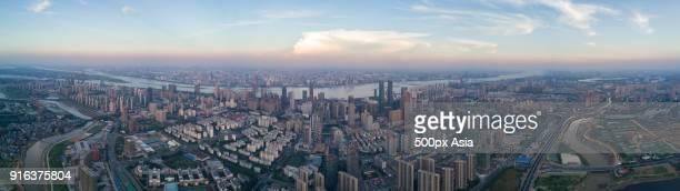 Panoramic view of modern skyscrapers, Nanchang, Jiangxi, China