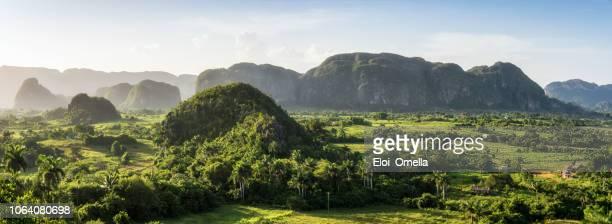 panoramische ansicht der mogotes im viñales-tal bei sonnenuntergang. kuba - valle de vinales stock-fotos und bilder