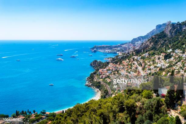 panoramic view of monaco from roquebrune-cap-martin  (provence, france) - monte carlo stock-fotos und bilder