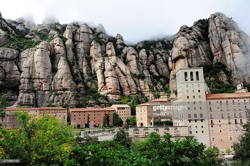 Panoramic view of Monserrat Monastery : Stock Photo