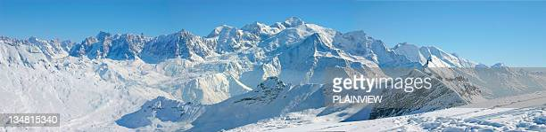 panoramic view of mont blanc massif xl - mont blanc massif stock photos and pictures