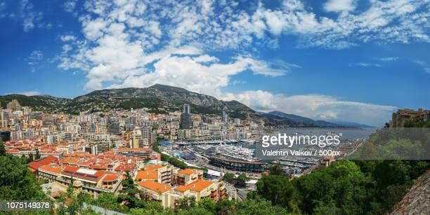 panoramic view of monte carlo harbour in monaco - monte carlo stock pictures, royalty-free photos & images