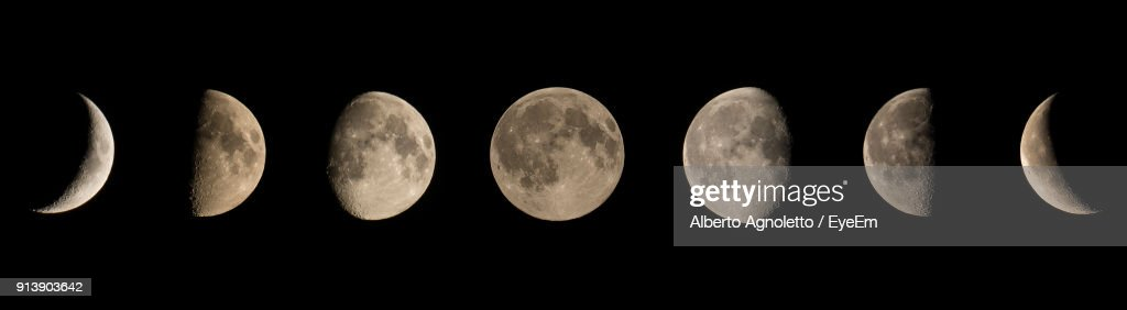 Panoramic View Of Moon In Clear Sky : Stock Photo
