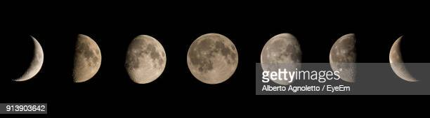 panoramic view of moon in clear sky - semicírculo - fotografias e filmes do acervo