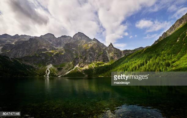 Panoramic view of Morskie Oko lake, Carpathian Mountain Range, Tatra,